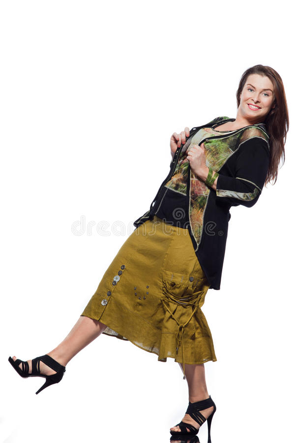 Large build caucasian woman spring summer fashion. Large build caucasian woman full length spring summer fashion models clothes clothings on studio isolated royalty free stock photography