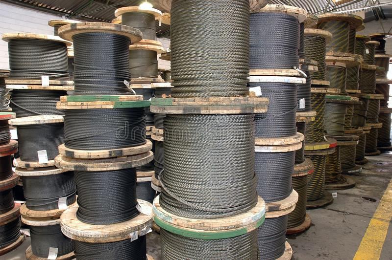 Large cable reels stocked stock image