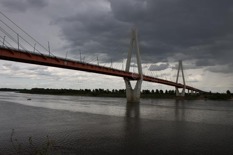 A large cable-stayed bridge over the Oka river in Murom, Russia royalty free stock photography