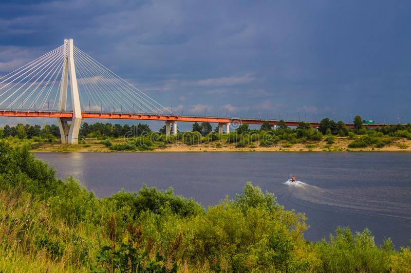 A large cable-stayed bridge over the Oka river in Murom, Russia royalty free stock photo