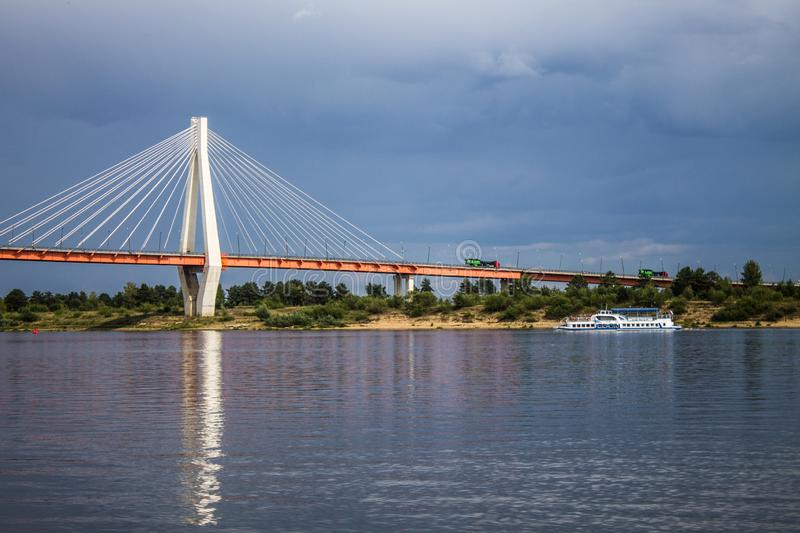 A large cable-stayed bridge over the Oka river in Murom, Russia stock photo