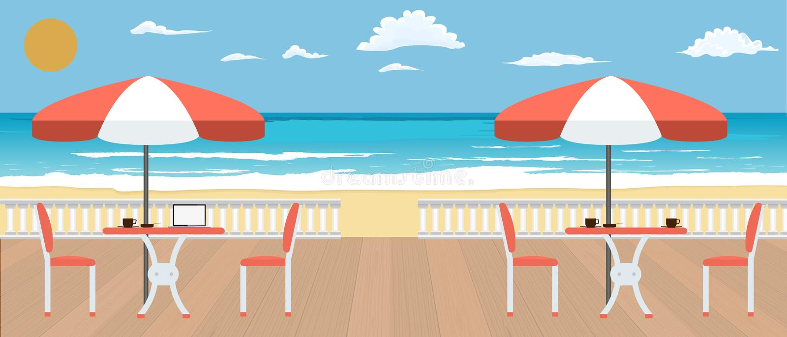 Large Cafe on the terrace near the seashore. Summer, Restaurant and travel concept banner. Vector illustration. stock illustration