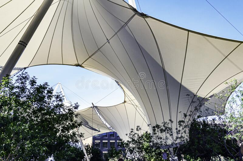 A large canopy in Scottsdale. A large canopy diffuses the sunlight in the summer at Scottsdale in Arizona stock photos