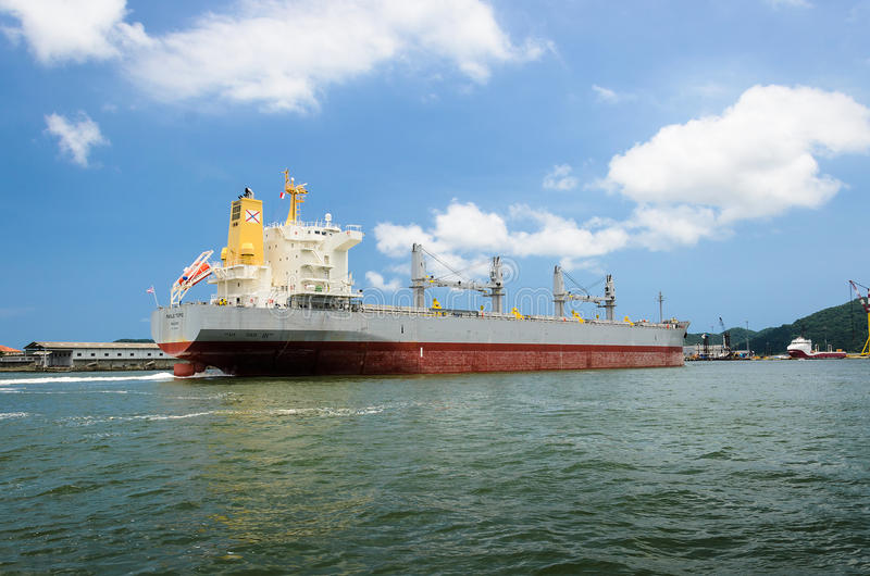 Large cargo ship arriving at the port of Santos royalty free stock images