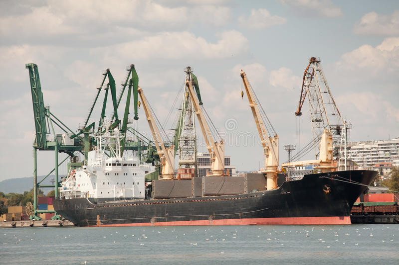 Download Large Cargo Ship In A Dock Stock Images - Image: 36362484