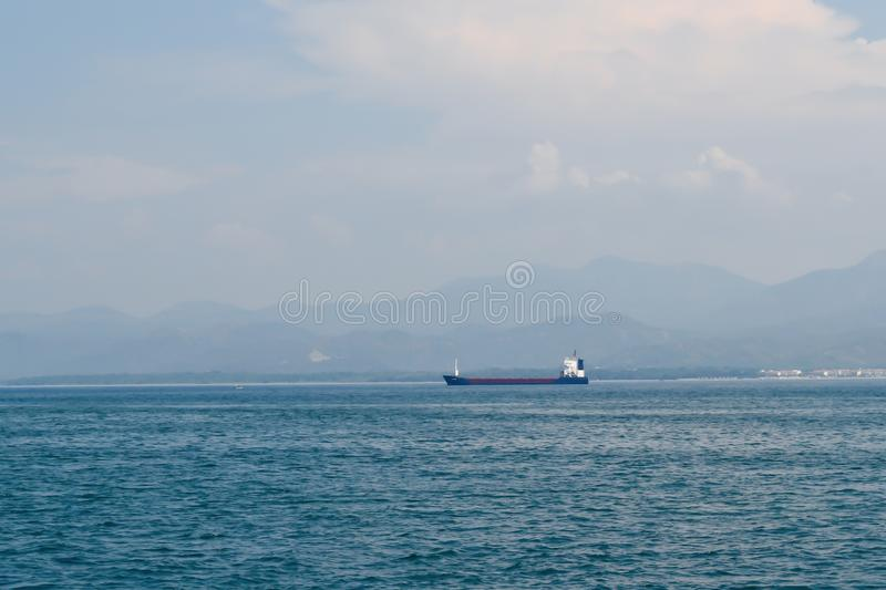 Large cargo ship in the Mediterranean Sea off the Turkish coast stock photography