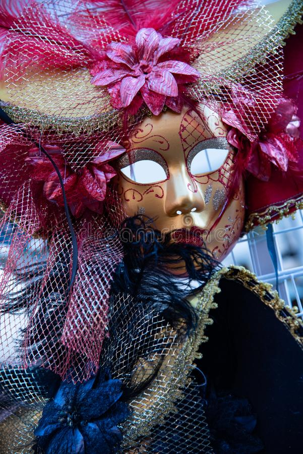 Large carnival mask depicting a woman. stock photography