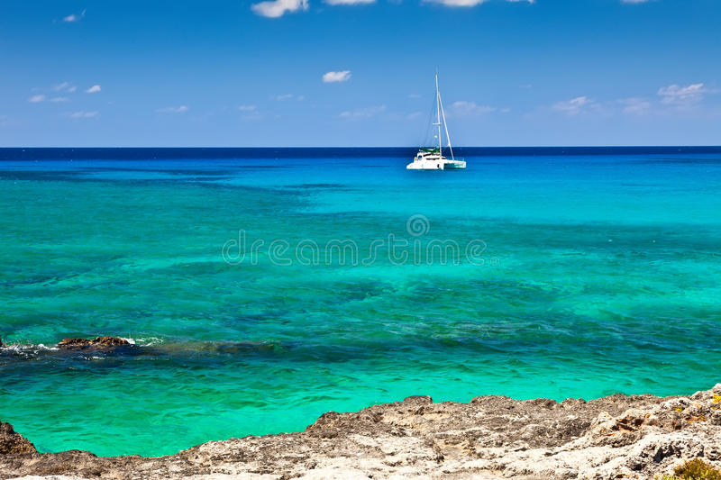 Grand Cayman. Large catamaran sailing in Grand Cayman, Cayman Islands royalty free stock images
