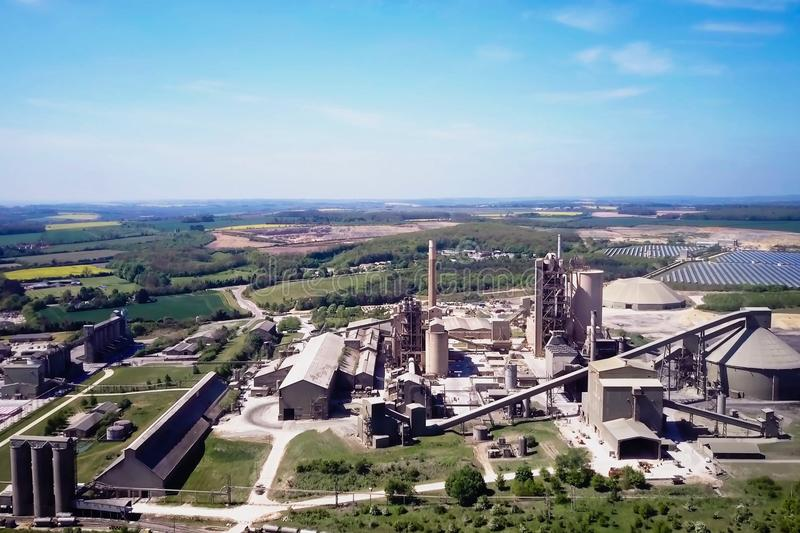 Large cement plant. The production of cement on an industrial scale in the factory.  stock image