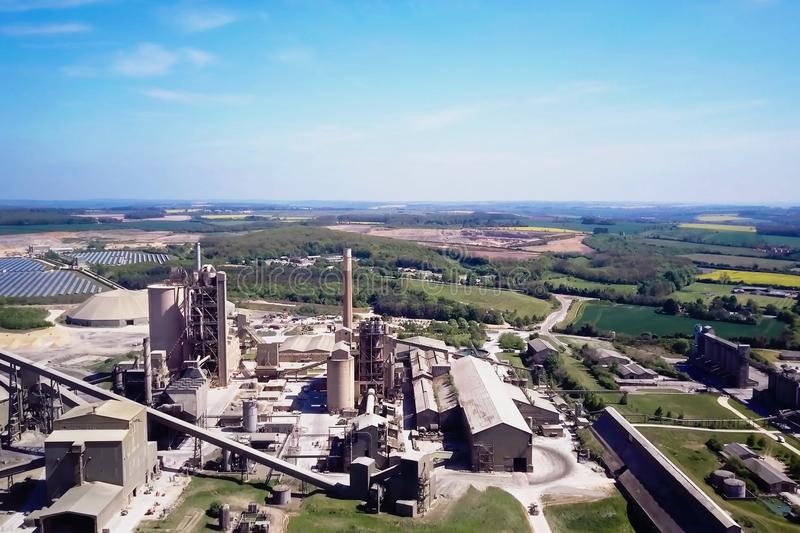 Large cement plant. The production of cement on an industrial scale in the factory.  stock photography