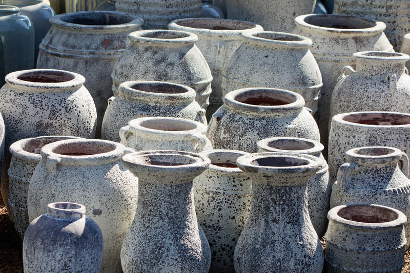 Download Large Ceramic Garden Pots Stock Photo. Image Of Stacked   63973808