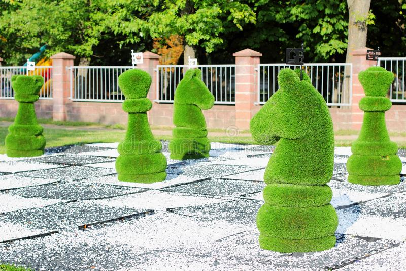 Large chess pieces decorated with green grass stock photography