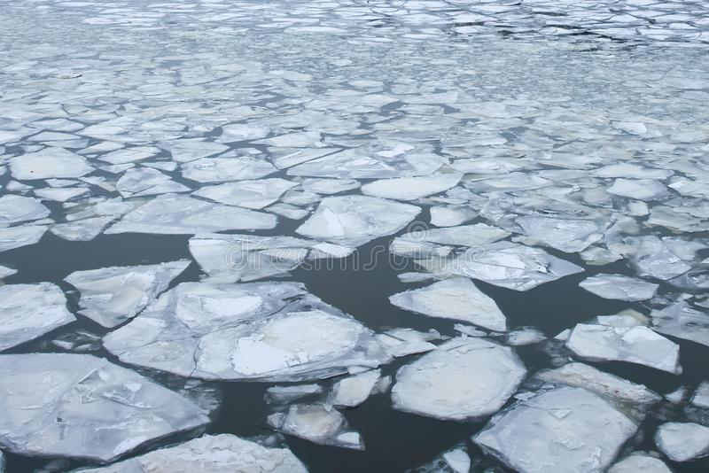 Large chunks of ice float on the surface of the water. Large chunks of ice float on the surface of the water stock images