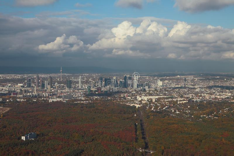 Large city and its vicinities, aerial photograph. Frankfurt am Main, Germany. 2018-11-02 royalty free stock images