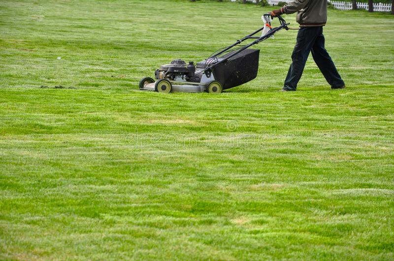 lawn by Mowing. A large and clean lawn by Mowing stock photography