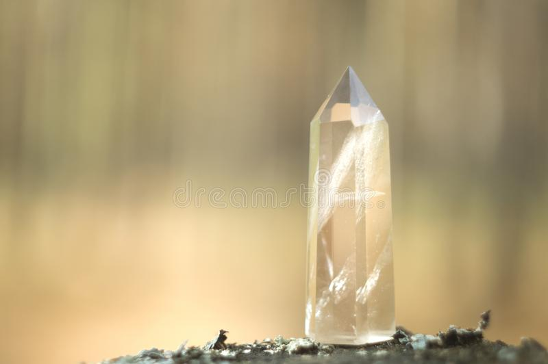 Large clear pure transparent great royal crystal of quartz chalcedony diamond brilliant on nature blurred bokeh background close u. P stock photos