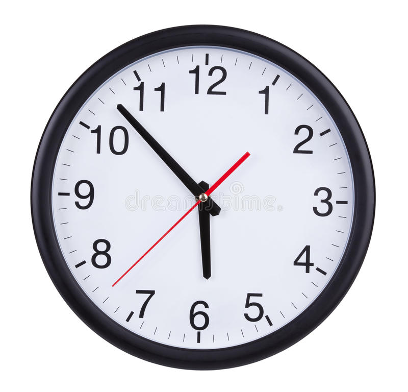 Large Clock Shows Five To Six Stock Image