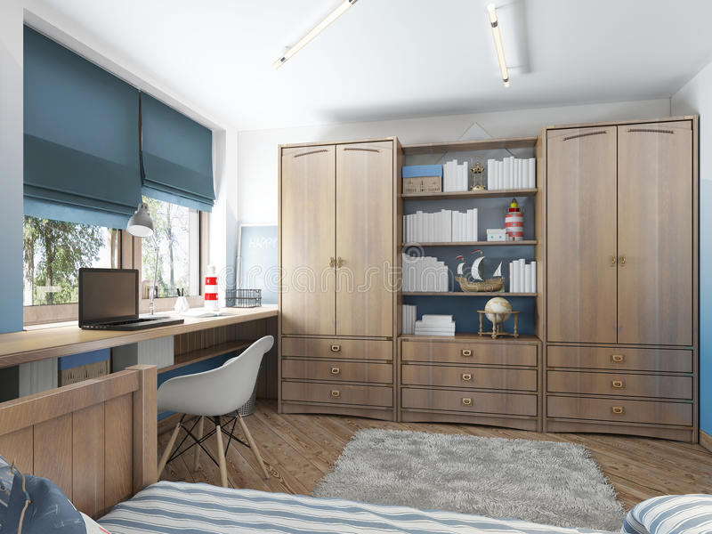 Large clothing closet with shelves for decorations and items and. A work desk in the children's room. Children's room in the maritime modern style. 3D render vector illustration