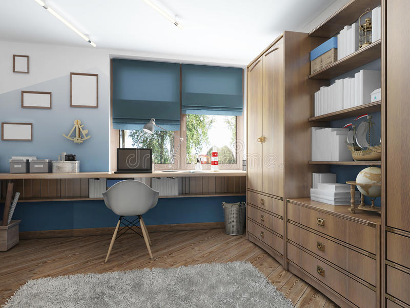 Large clothing closet with shelves for decorations and items and. A work desk in the children's room. Children's room in the maritime modern style. 3D render stock illustration