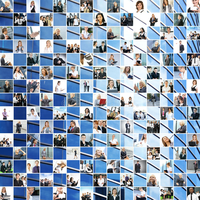 A large collage of different business theme images royalty free stock photography