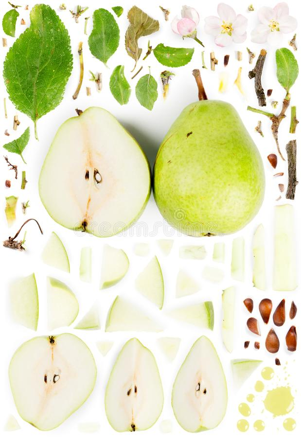 Pear Slice and Leaf Collection. Large collection of green pear fruit pieces, slices and leaves isolated on white background. Top view. Seamless abstract pattern royalty free stock image