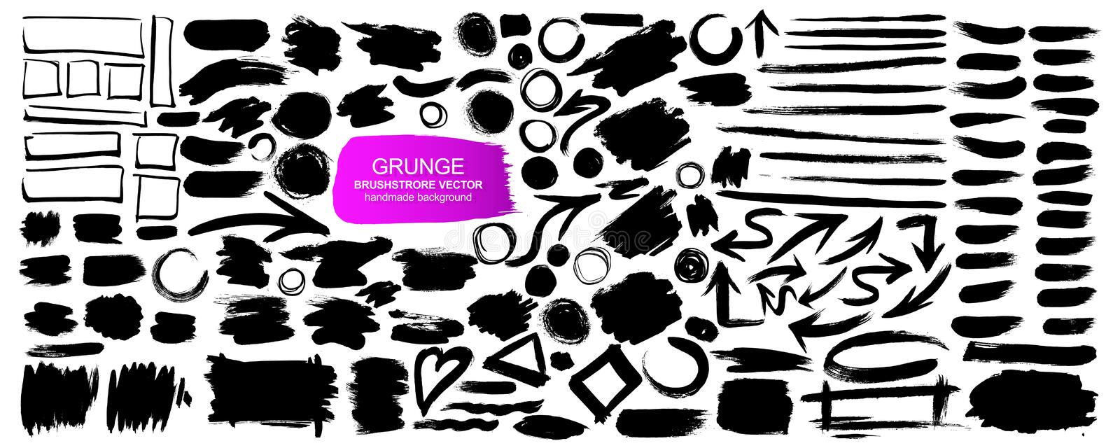 Large collection of grunge elements. Vector background isolated on white background vector illustration