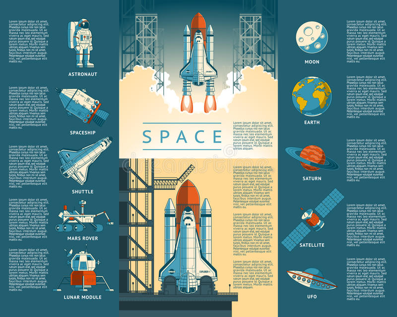 Large collection icons of space vector illustration
