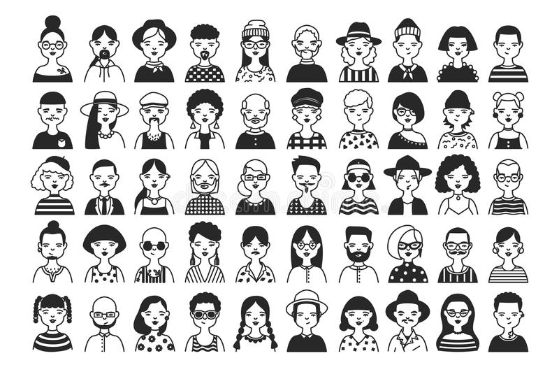 Large collection of male and female cartoon characters or avatars with different hairstyles and accessories hand drawn vector illustration