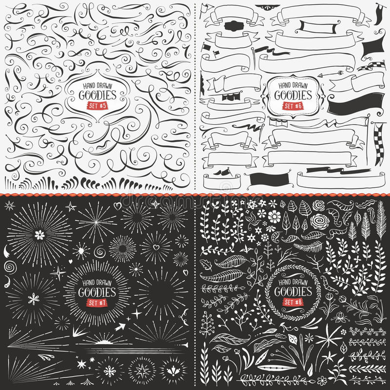 Free Large Collection Of Hand Drawn Vector Design Elements Royalty Free Stock Images - 55335979
