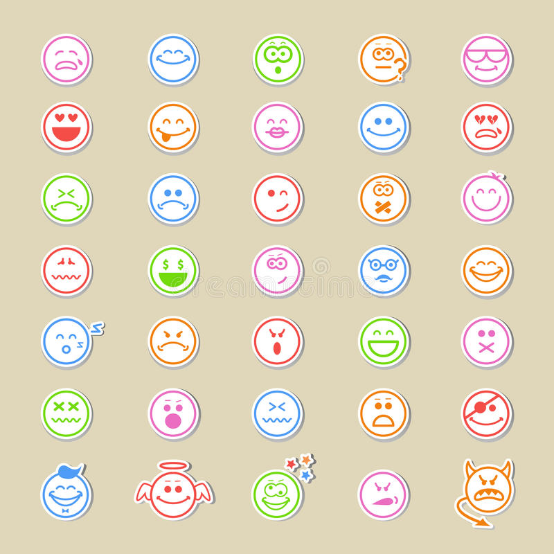 Large collection of round smiley icons vector illustration
