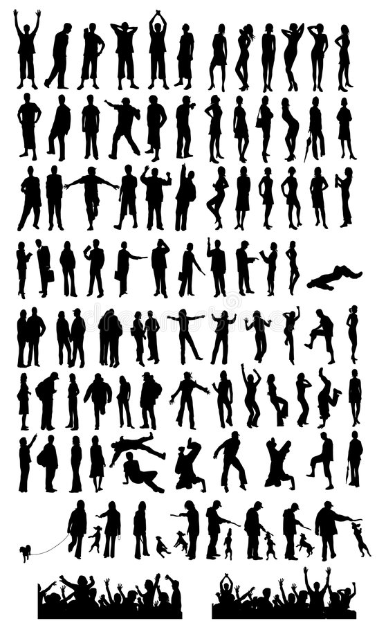 Large collection of silhouette royalty free illustration