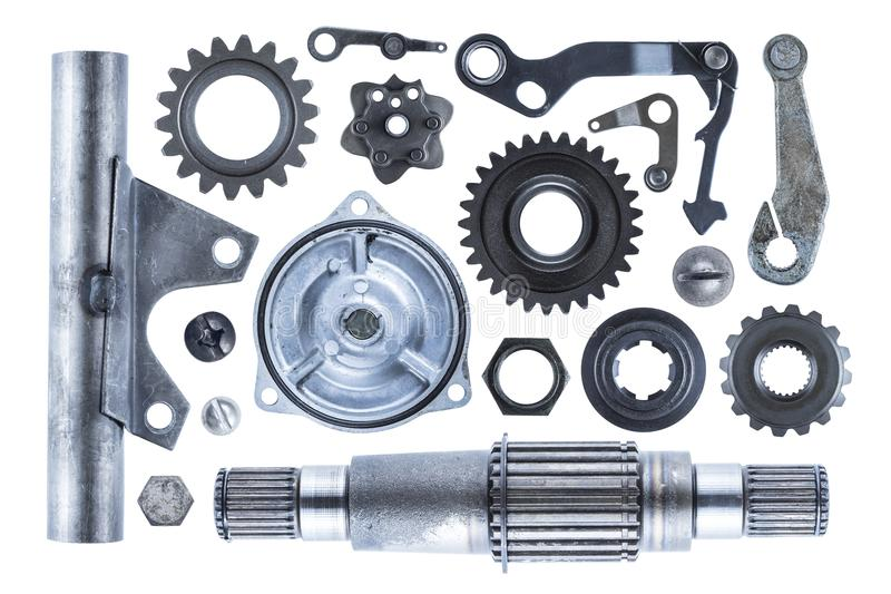 Industrial Metal Elements Collection. A large collection of steel engine parts including gears, shafts, bolts, and other various elements royalty free stock photography