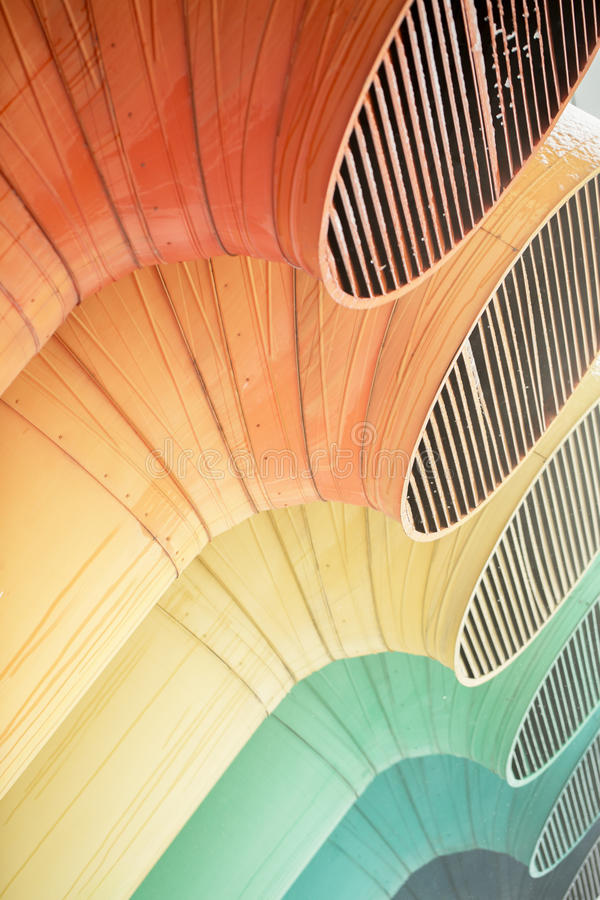 large color ventilation pipes of industrial building, royalty free stock images