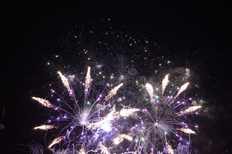 Fireworks. The large colored fireworks in Prague in the capital of the Czech Republic welcome the new year 2018 royalty free stock photo