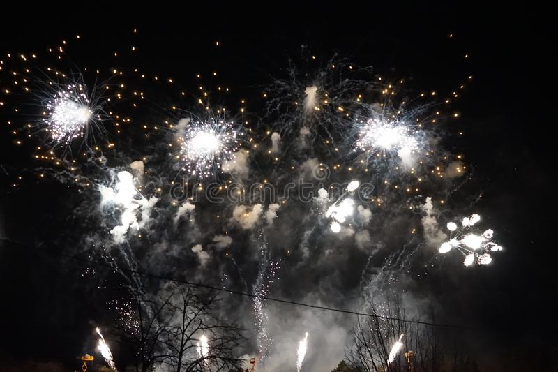 Fireworks. The large colored fireworks in Prague in the capital of the Czech Republic welcome the new year 2018 stock image