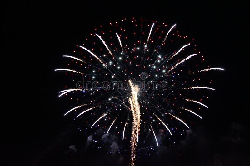 Fireworks. The large colored fireworks in Prague in the capital of the Czech Republic welcome the new year 2018 stock photo