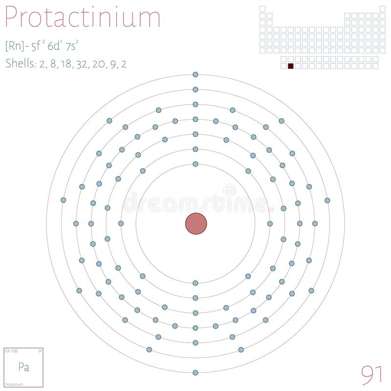 Infographic of the element of Protactinium stock illustration