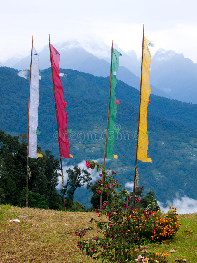 Large colorful prayer flags at Sikkims ancient capitol Rabdentse (India) in the Himalayan mountains stock images