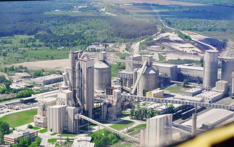 A large concrete plant in Russia, photographed from a bird`s eye view from a quadcopte royalty free stock photos