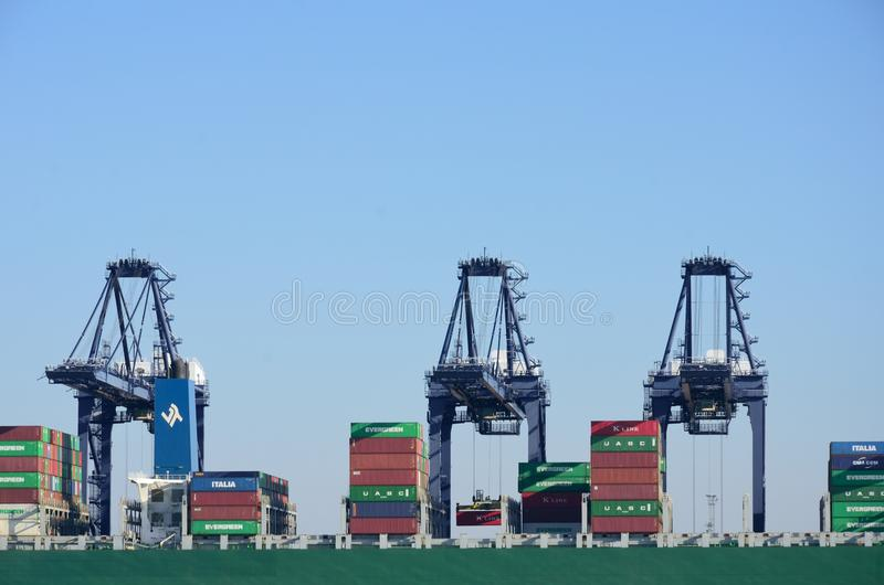 Large Container Cranes Unloading royalty free stock image