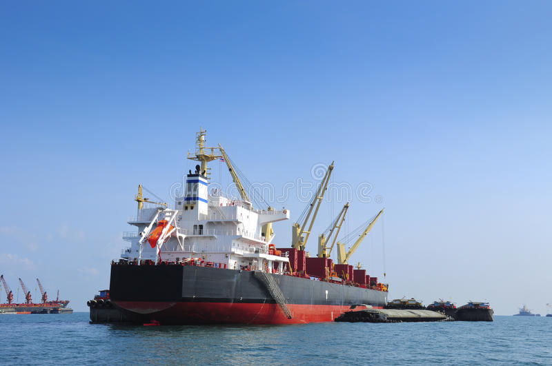 Large container ship in the sea stock photo