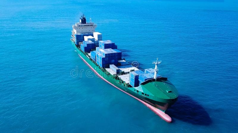 Large Container ship at sea stock photos