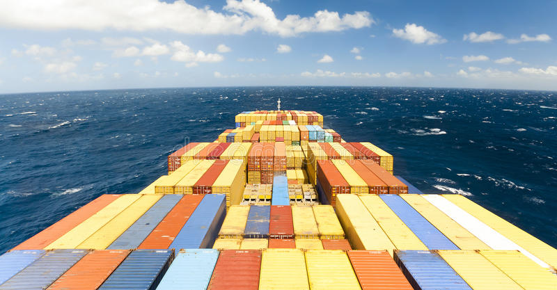 Download Large Container Vessel Ship And The Horizon Stock Photo - Image of logistics, stack: 53633196
