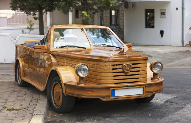 Large wooden cabriolet on the street of Budva, Montenegro stock photo