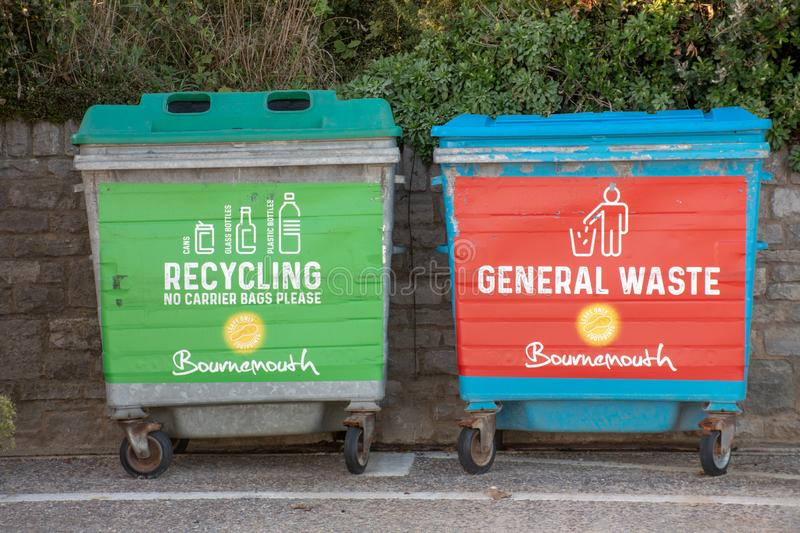 Large council waste recycling bins stock photos