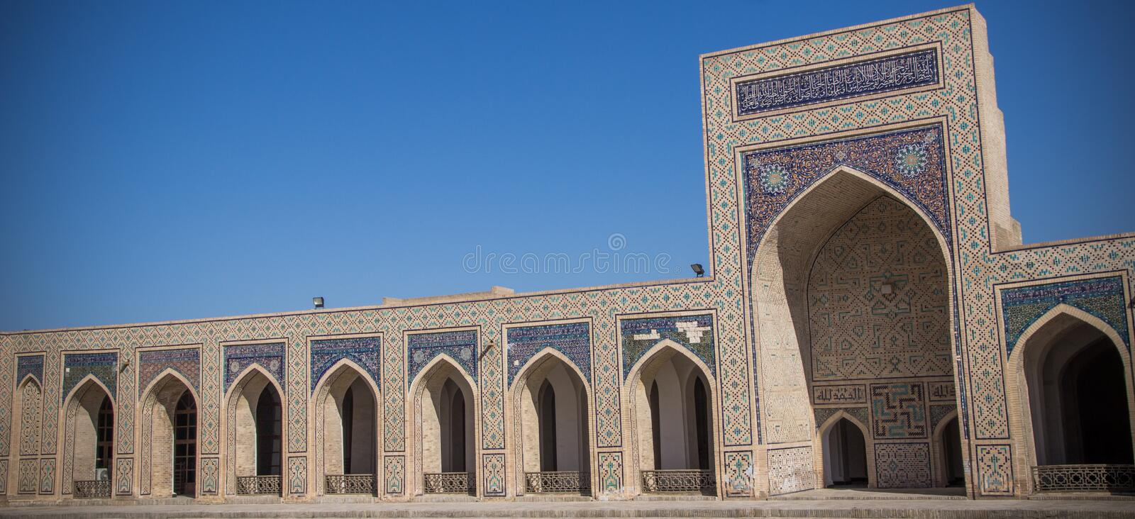 The large courtyard of Kalyan Mosque in Bukhara, Uzbekistan stock images