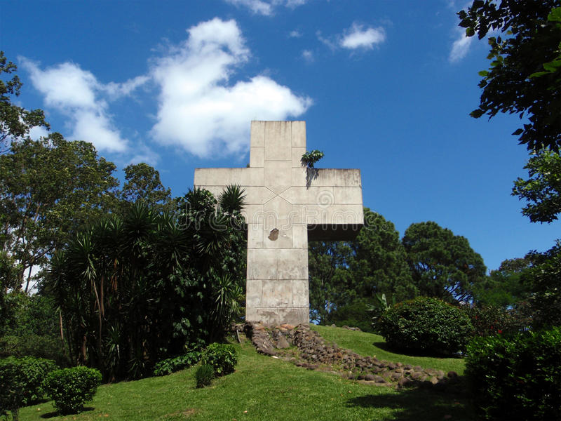 Large Cross in Park stock photography