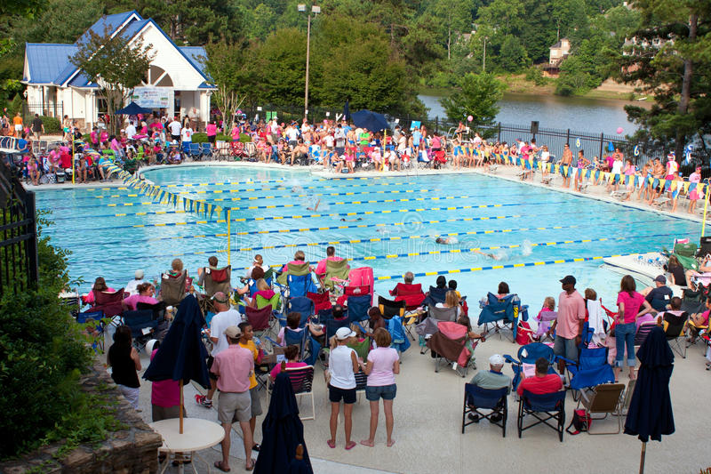 Large Crowd Of Parents Watches Swim Meet