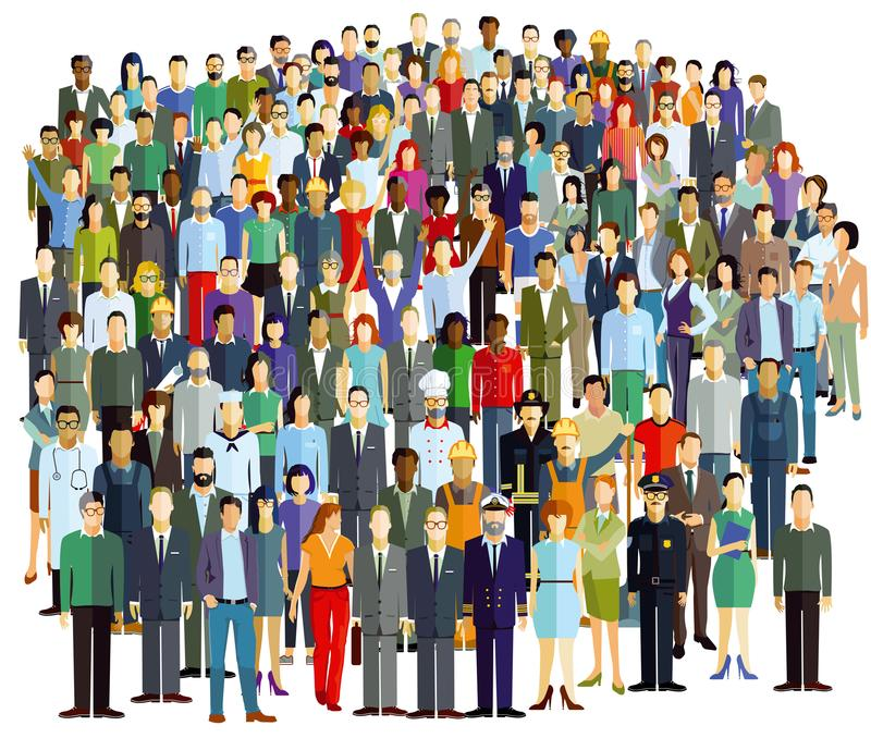 Large crowd of people. Colorful illustration of a large crowd of adult people including a few in uniform such as policeman, ships captain, chef and doctor, white royalty free illustration