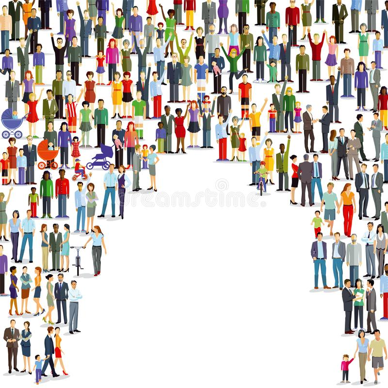 Large Crowd Of People vector illustration